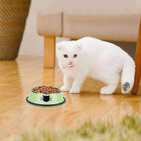 PET Bowl gato patrón-acero inoxidable antideslizante base de goma alimento Bowl/agua Bowl-tazón de comida para cachorros fácil de limpiar seguro y saludable ...
