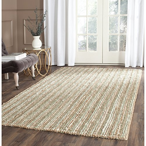 Safavieh Natural Fiber Collection NF447S Hand Woven Sage and Natural Jute Area Rug (5′ x 8′)