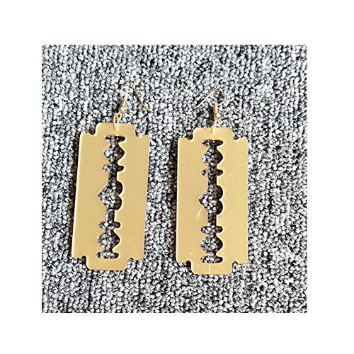 (Gothic Razor Blade Dangle Earrings Statement Geometric Acrylic Resin Polished Silver Blade Drop Earrings for Women Girls(Gold))