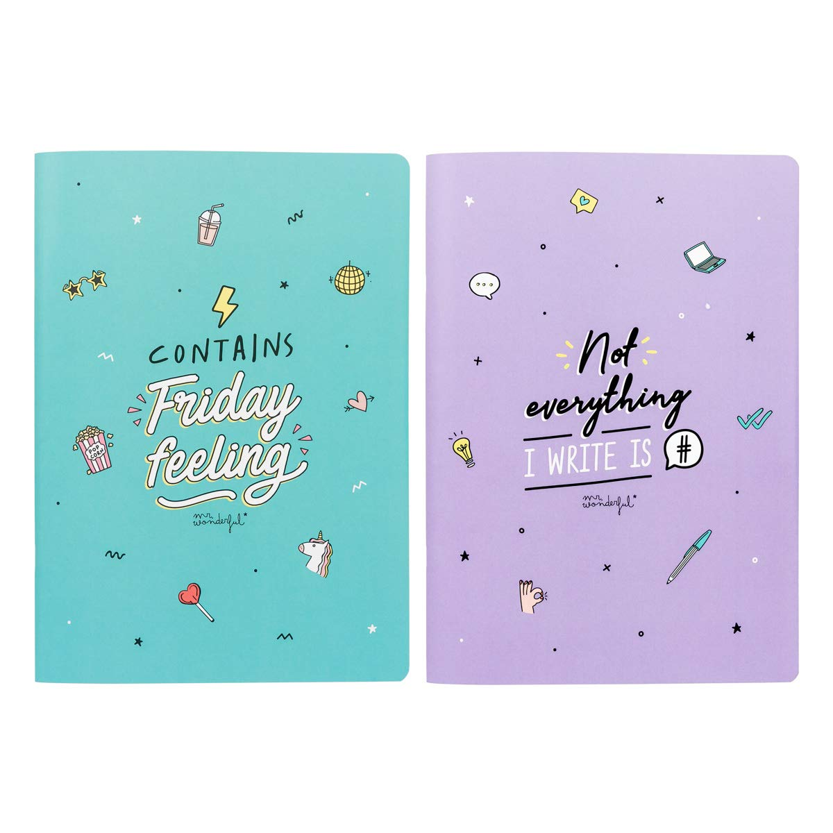 Mr. Wonderful Set of Two A4 notebooks-Contains Friday Feeling, Talla única
