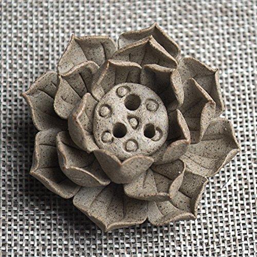 - Zehui Ceramic Incense Burner Stick Holder Lotus Incense Burner Ash Catcher Plate with 1/3 Holes Incense Burner Clay Three Holes Flower
