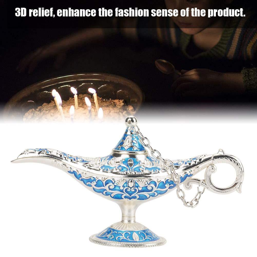 Borde plateado azul l/ámpara de disfraz Decoraci/ón de mesa para el hogar y regalo L/ámpara de leyenda hueca tallada de metal vintage cl/ásico Aladdin hueco Genio m/ágico Decoraci/ón de olla de luz