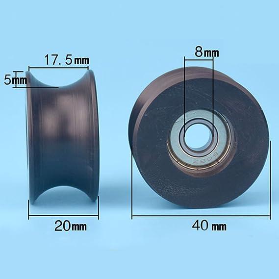 Ruedas de repuesto de 8 x 40 x 20 mm para mampara de ducha, con acanaladura en forma de U y carril guía Z20: Amazon.es: Bricolaje y herramientas