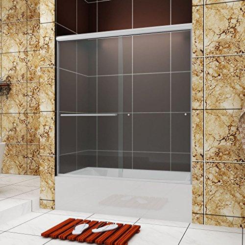 (SUNNY SHOWER Frameless Bypass 2 Way Sliding Bathtub Door, 1/4