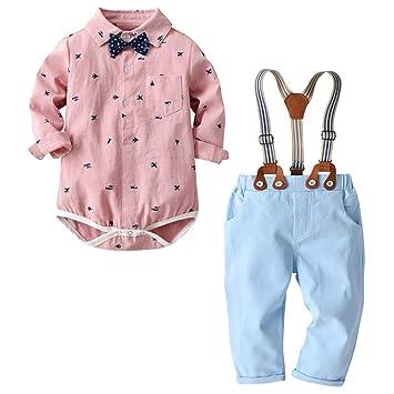 d377a4193b9 Toddler Baby Boy Clothes Set Long Sleeves Bow tie Gentleman Plane Print T-Shirt  Romper