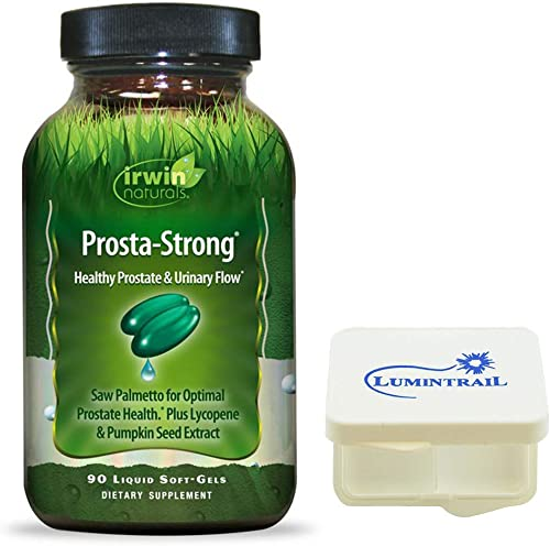 Irwin Naturals Prosta-Strong, Supports Prostate Health and Urinary Flow – 90 Liquid Softgels Bundle with a Lumintrail Pill Case