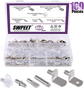 Swpeet 160Pcs 6 Styles Shelf Pins Kit, Top Quality Nickel Plated Shelf Bracket Pegs Cabinet Furniture Shelf Pins Support for Shelf Holes on Cabinets, Entertainment Centers