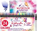 Watercolor Brush Pens Soft Tip Markers Set 24 Colors+ 1 Water Brush Blending Pen + Bonus 15 Sheet Watercolor Paper Pad Sketch Book for Calligraphy Comic Manga Kids Drawing Adult Coloring Painting Kit