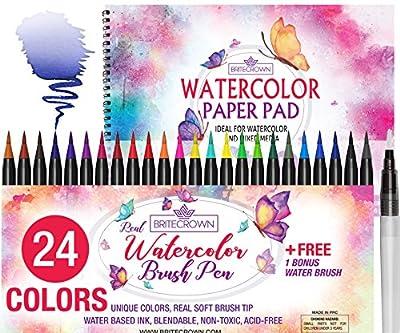 Watercolor Brush Pens Soft Tip Markers Set 24 Colors+ 1 Water Brush Blending Pen + Bonus 15 Sheet Watercolor Paper Pad Sketch Book for Calligraphy Comic Manga Kids Drawing Adult Coloring Painting Kit