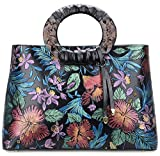 Pifuren Floral Handbags and Purses Flower Women Soft Leather Totes Bag for Women (6016H, Magnolia Flower Red)