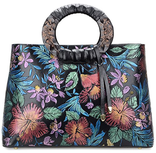 Pifuren Floral Handbags and Purses Flower Women Soft Leather Totes Bag for Women (6016H, Magnolia Flower Red) by PIFUREN