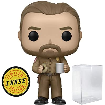Funko Stranger Things - Chief Hopper with Donut Limited Edition Chase Pop! Vinyl Figure (Includes Compatible Pop Box Protector Case): Toys & Games