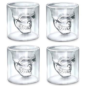 New Cocktail Skull Head Vodka Whiskey Shot Glass Drinking Glassware Home Bar BE
