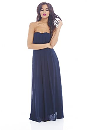 Amazon.com: AX Paris Plain Elegant Chiffon Strapless Dress: Clothing