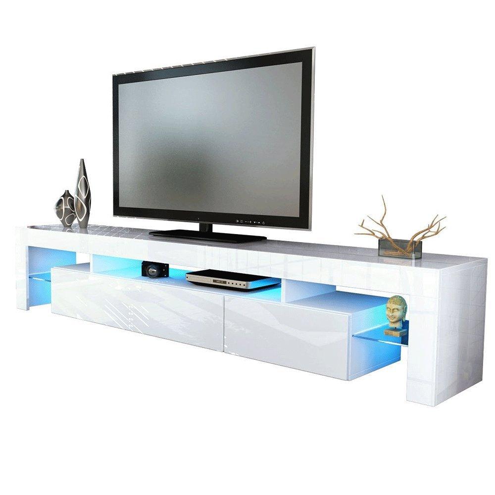 kofkever vivaldi 1204 porta tv bianco/bianco lucido brillante ... - Mobili Tv Bassi Moderni