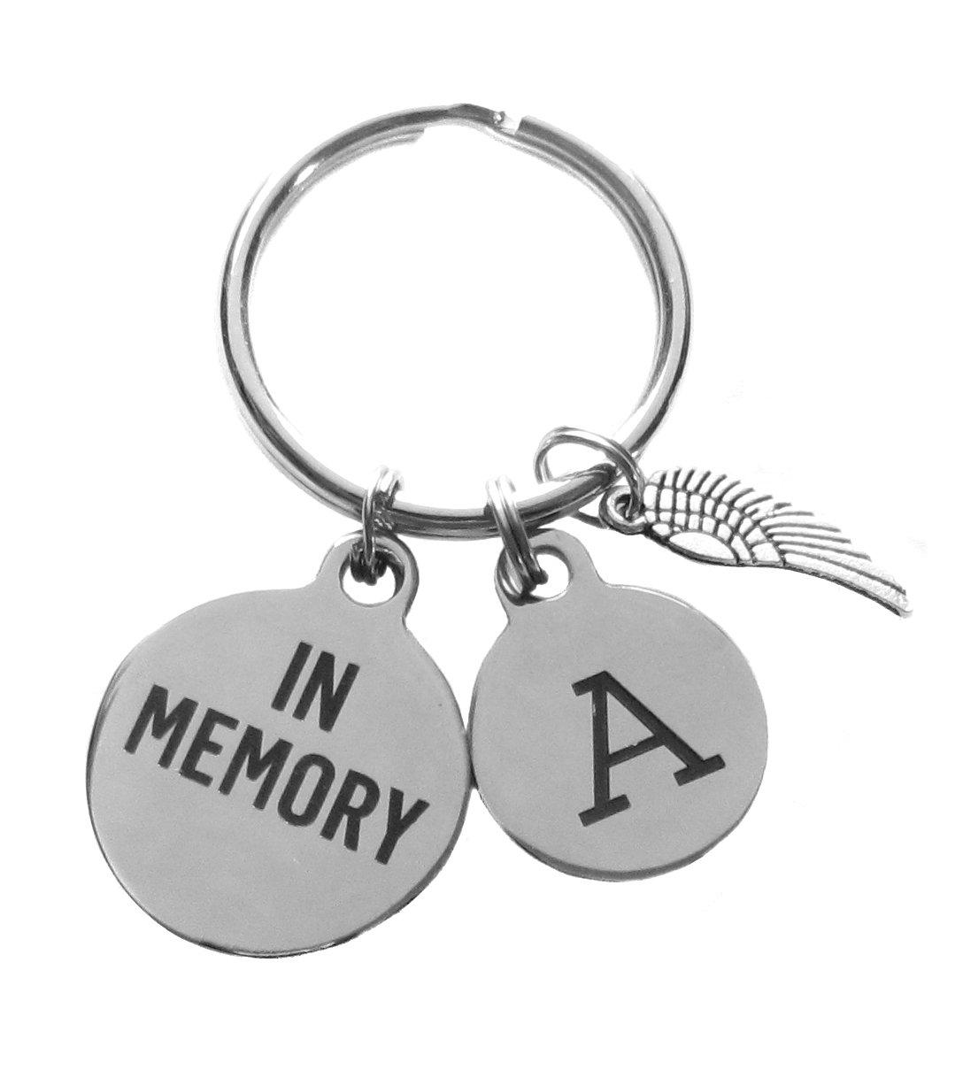 Custom Stainless Steel ''In Memory'' Initial Memorial Keychain
