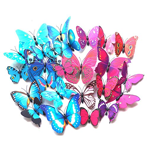 24 PCS PVC 3D Butterfly Fridge Magnets Refrigerator Magnets Wall Stickers with Magnet for Wall Decor Art Decor Crafts Home Party Decoration (Bule & ()