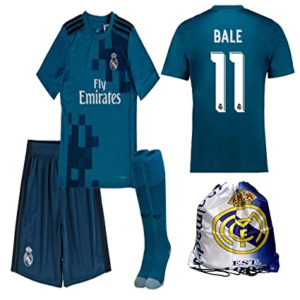Real Madrid NB Ronaldo Bale Benzema Ramos 2017 2018 17 18 Kid Youth REPLICA Third  Jersey a4c35f52b273e