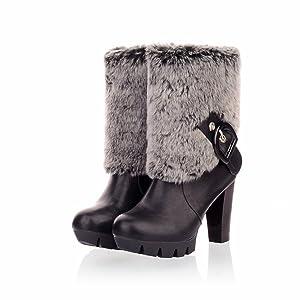 Venkes Women's Chunky Heel Winter Platform Leather Fur Buckle Mid-Calf Casual Boots