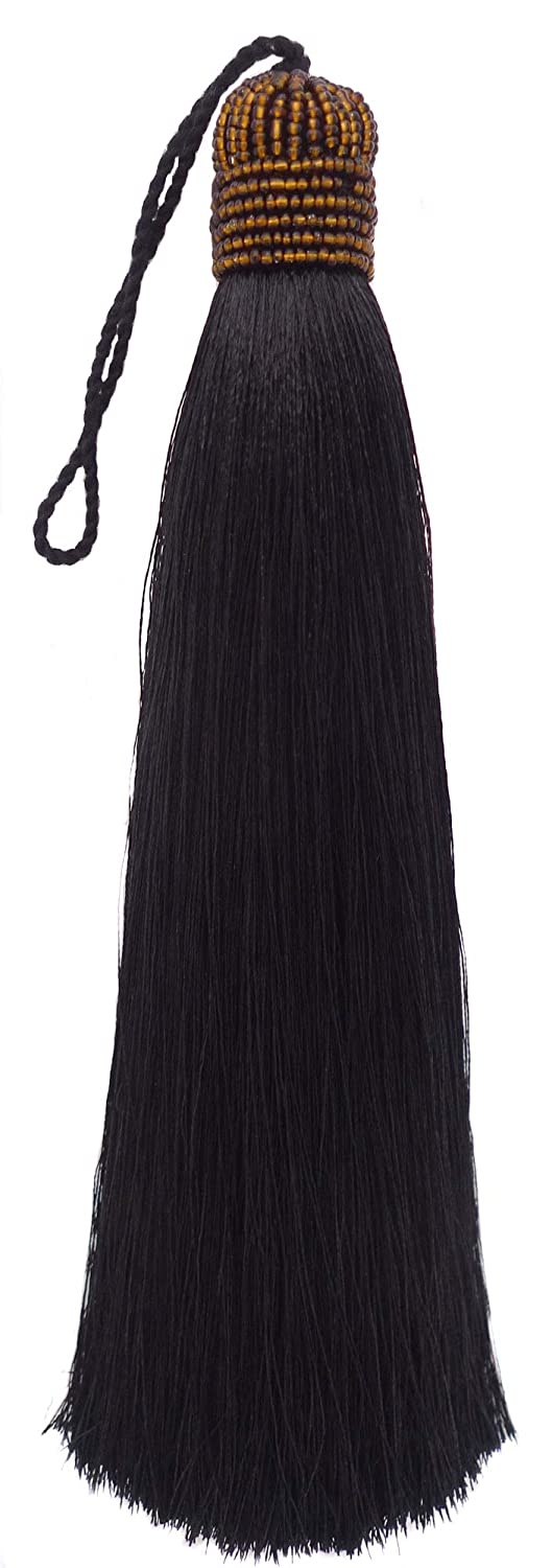 Extra Long Silky 10 Inch Tassel with Beaded Head and Hanging Loop for Home Furniture, Interior Décor, Craft Accessory, DIY (Black)