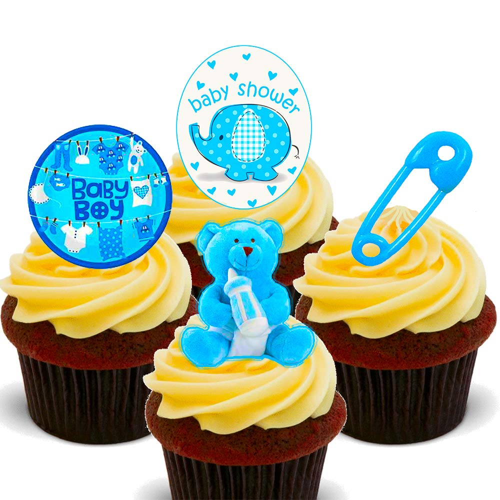 Made4You Baby Shower Boy, Pre-Cut Edible Cake Decorations - Stand-up Wafer Cupcake  Toppers (Pack of 24): Amazon.co.uk: Kitchen & Home