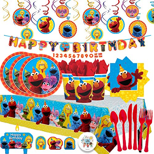 Another Dream Sesame Street Mega Birthday Party Pack with Decorations for 16 with Plates, Napkins, Cups, Tablecover, Candles, Cutlery, Swirls, Birthday Banner and Exclusive Pin