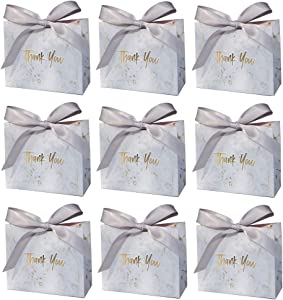 CheeseandU 24Pack Small Thank You Gift Bag Boxes Marble Pattern with Bowknot Decor Thank You Paper Bag for Wedding Baby Shower Thanksgiving Holiday Party Favor Candy Boxes, 4.5
