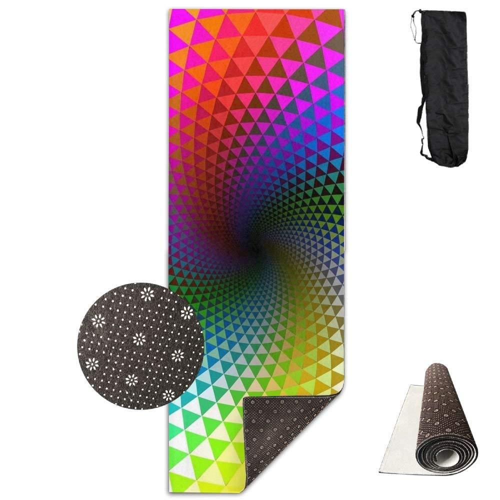 Rotation Multi Colored Lines Shape Deluxe,Yoga Mat Aerobic Exercise Pilates Anti-slip Gymnastics Mats