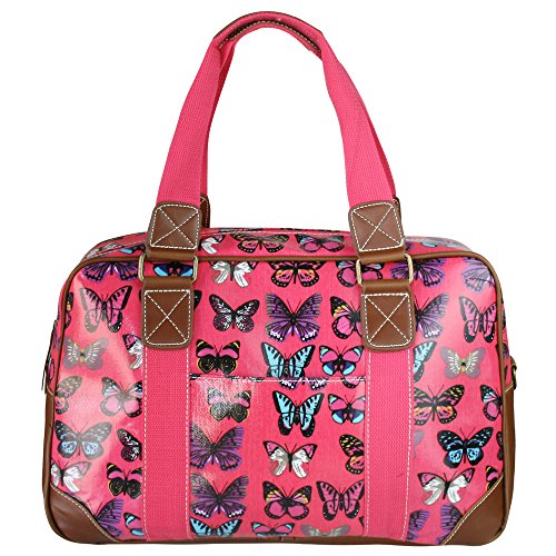 Miss Lulu Women's Oilcloth Travel Bag Butterfly Design (Plum L1106B PM)
