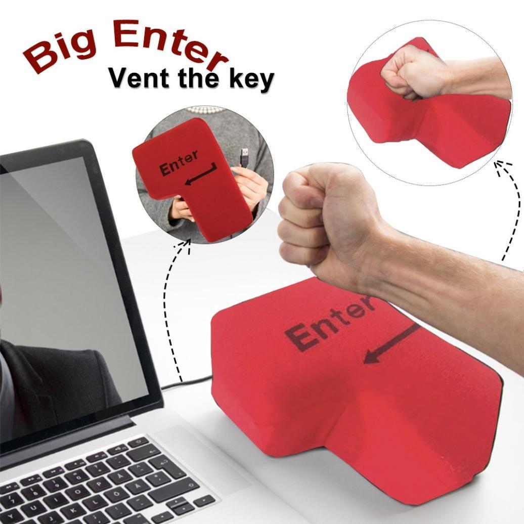 highpot Big EnterキーUSB枕オフィスStress Relief Ventツールレッドクリエイティブキーボード人形おもちゃ B075SDLDP2