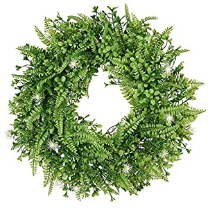 TINGOR Artificial Green Leaf Wreath, 16'' Fern Round Wreath for Front Door Wall Window Party Décor 82