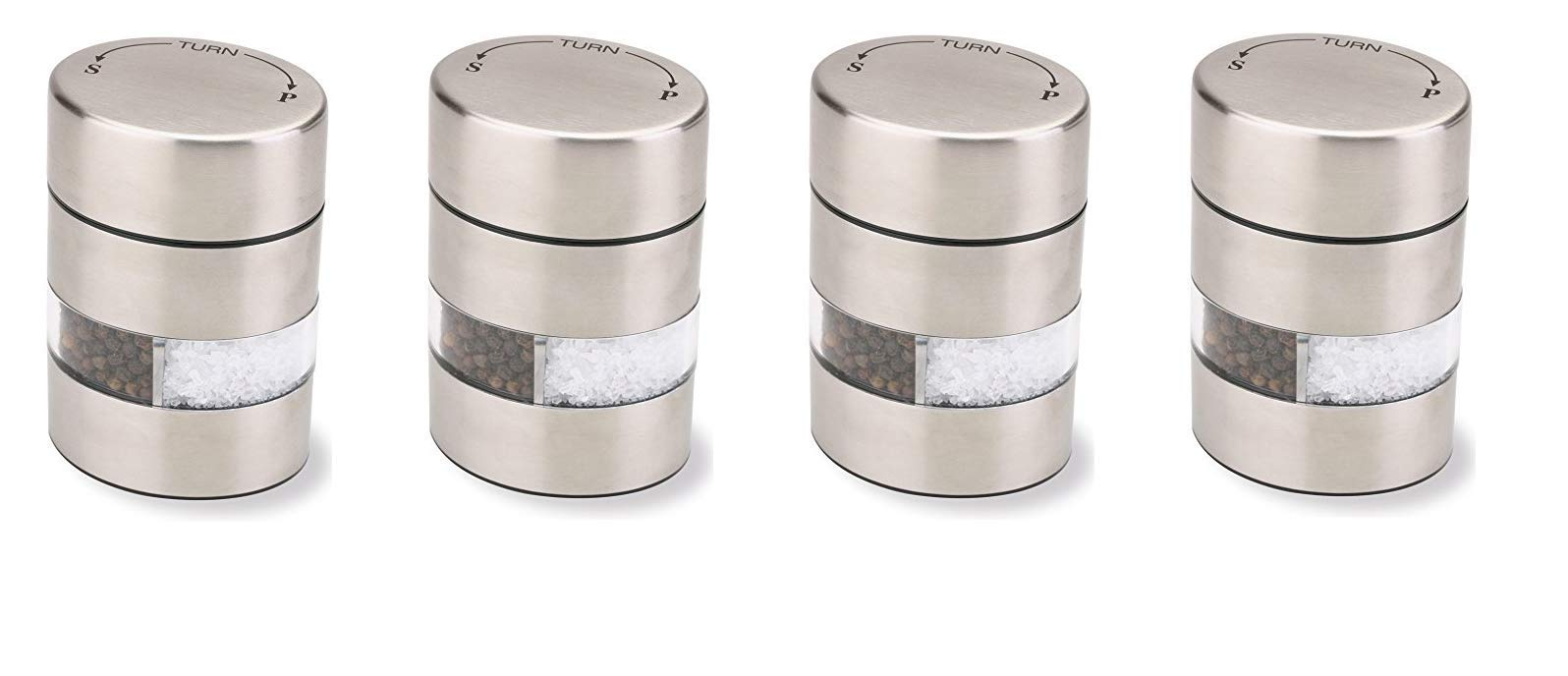 Olde Thompson 4'' Stainless Steel Pepper Mill and Salt Mill 2-in-1 Combo - 5080-00 (4-Pack) by Olde Thompson