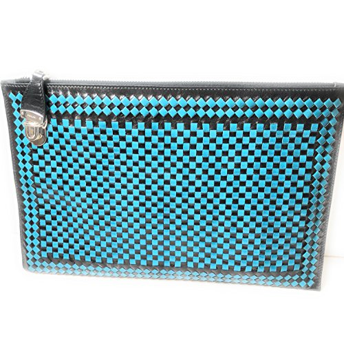 Prada Women's Madras Clutch Handbag Woven Blue and Black Leather BP8681 (Prada Blue Handbag)
