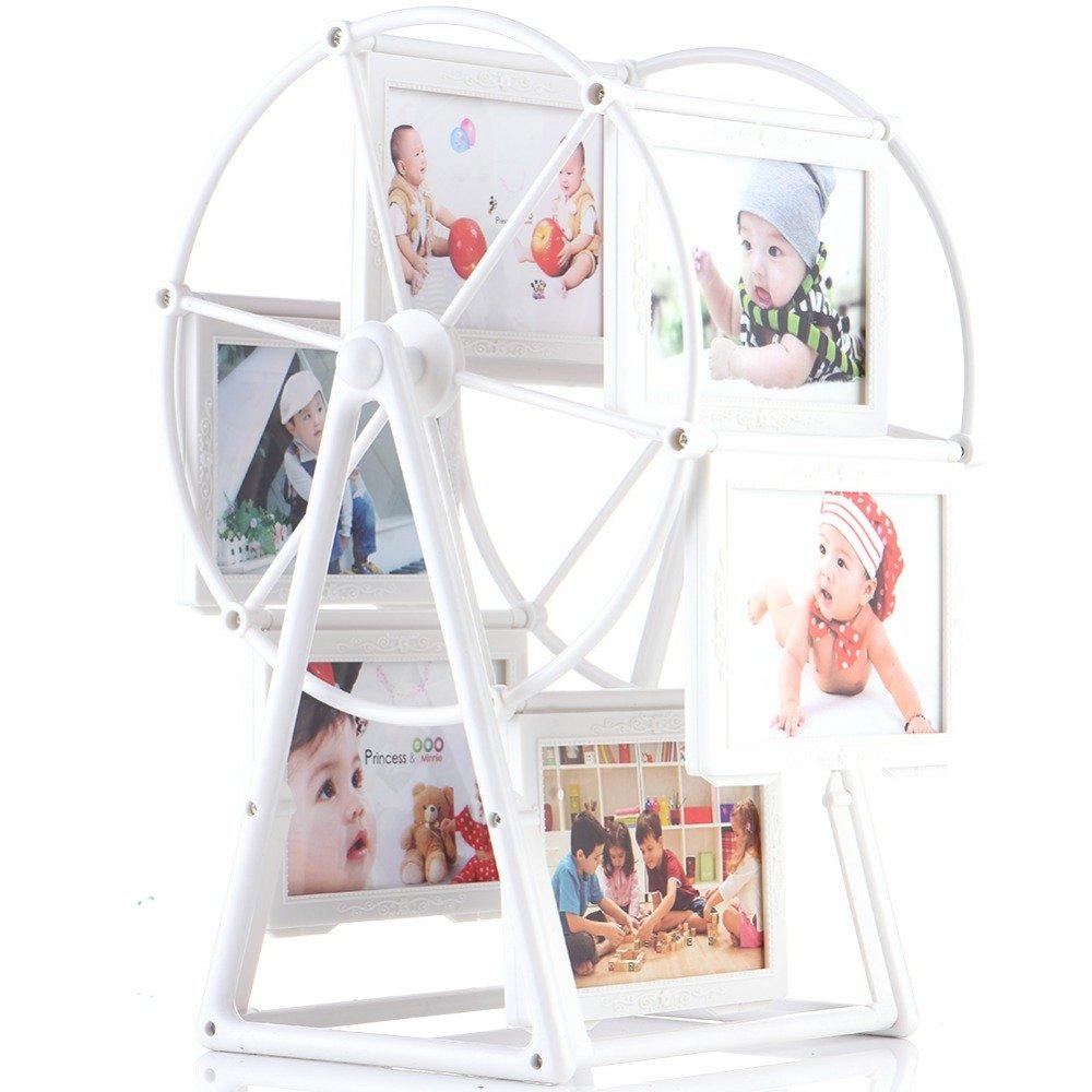 Kglobal 5Inch Photo Frame Rotating Ferris Wheel Windmill Shape 12 photos Christmas Wedding Gifts Home Art Decor (White)