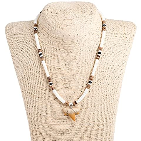 Shark Tooth Pendant on Puka Shells Necklace with Black and Tiger Coconut Wood Beads (2S Shark - Coconut Shell Pendant