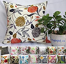 TangDepot 100% Cotton Floral/Flower Printcloth Decorative Throw Pillow Covers /Handmade Pillow Shams, 14 Color and 10 Size options, Light Black, Peach Blossom, Red Rosebush, Red And Green Leaf, White Magnolia, Fantastic Flowers, Chrysanthemum, Peony, Red