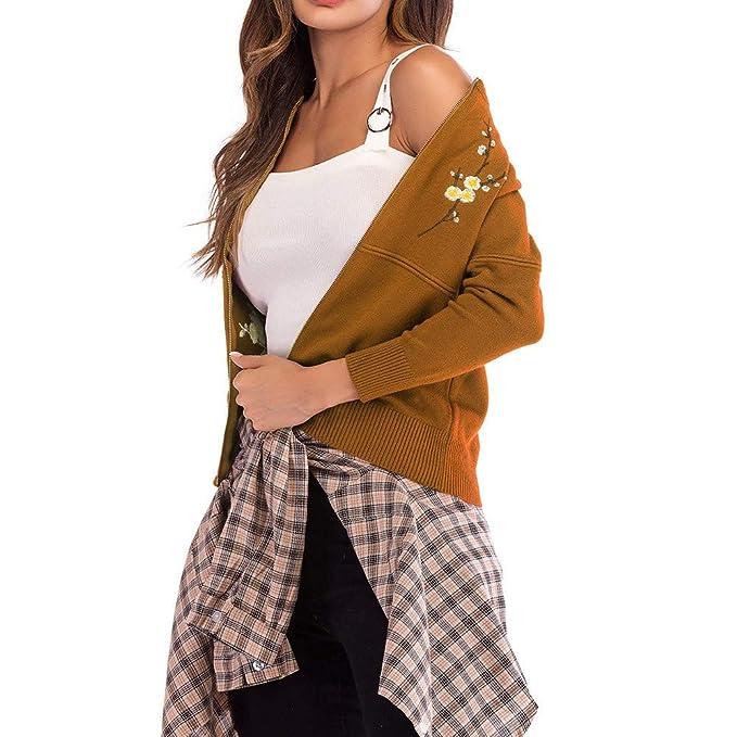 Yvelands Bordado de Las Mujeres de Punto de Manga Larga suéter Outwear Escudo Top Blusa(