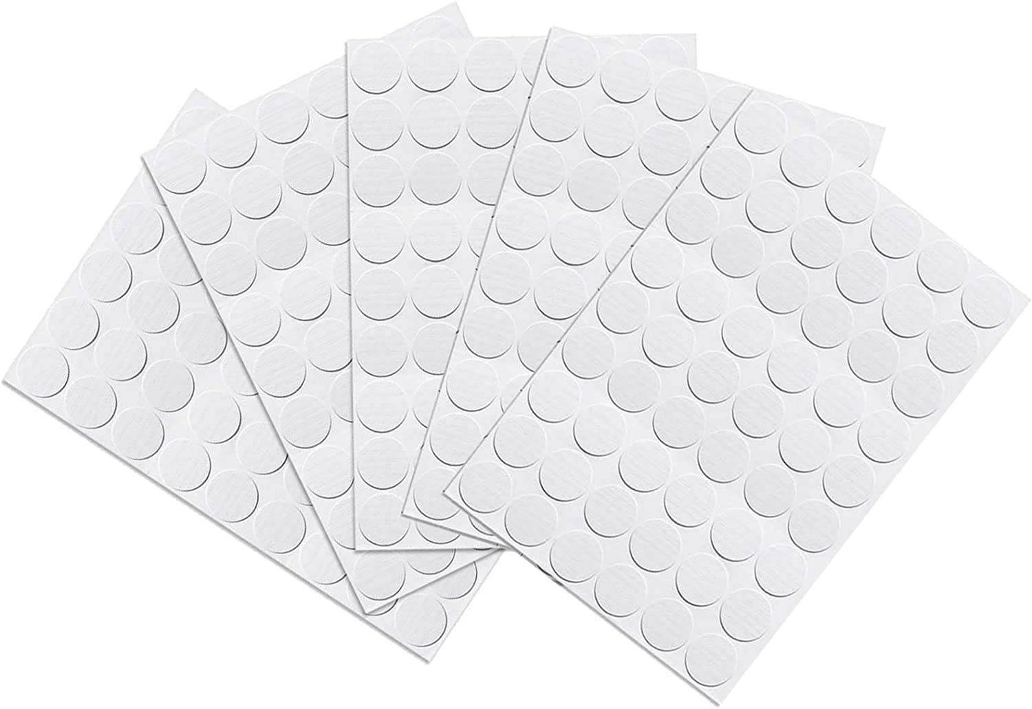 Screw Hole Covers Stickers, ECUDIS Plastic Self Adhesive Stickers for Wood Furniture Cabinet Shelve Plate, 21mm Dia 270 pcs in 5 Sheet White