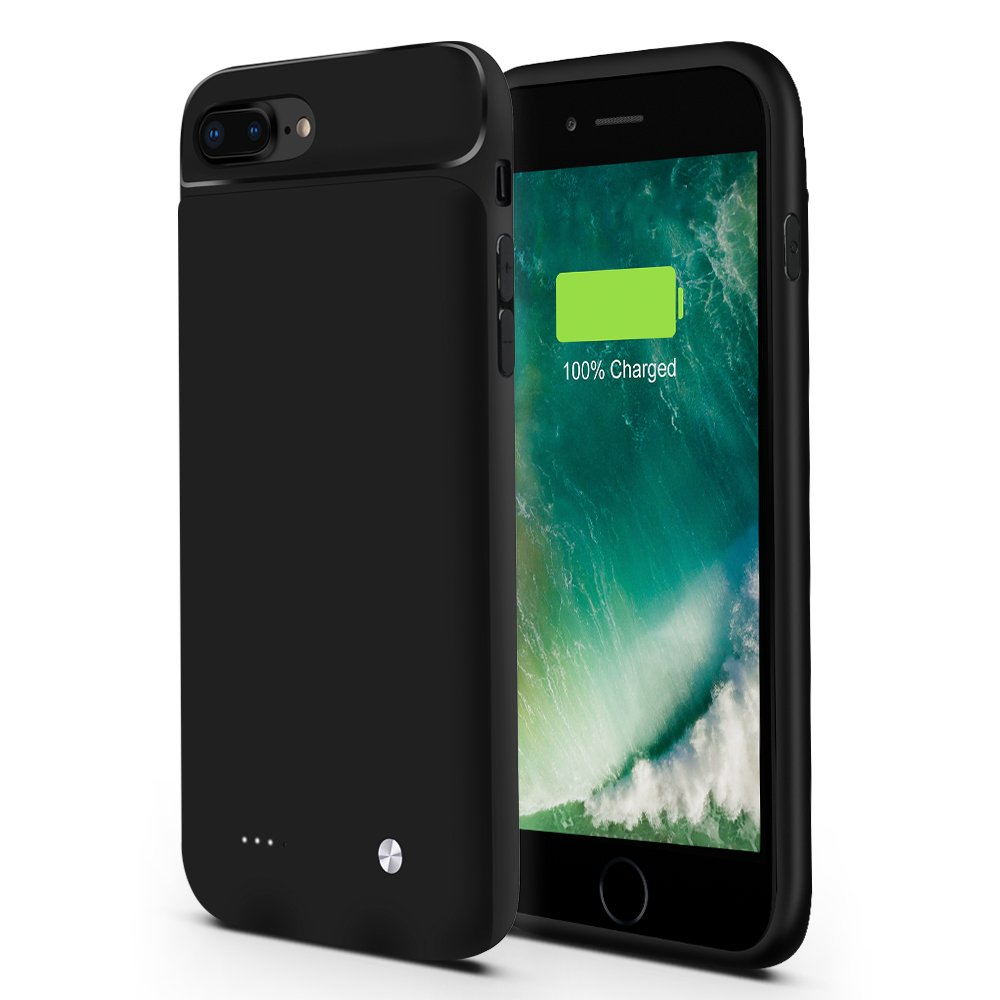iphone7 Plus Battery case,iphone7+5.5inch FIDEA 5000mAhWith Audio,[Support Lightning Headphones] External Protective Battery case for iPhone 7plus Battery Charger Cases,Lightning Cable Input(Black)