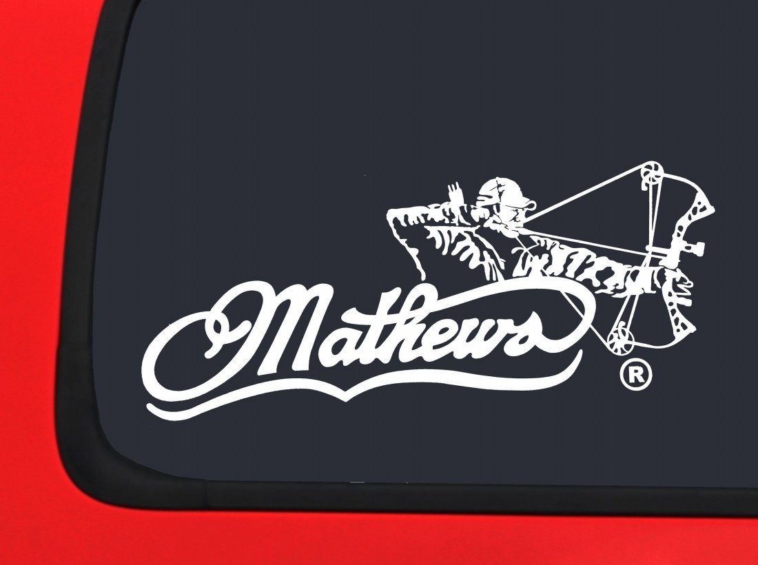 Mathews Archery with Bow Hunter Male White Hunting window decal sticker