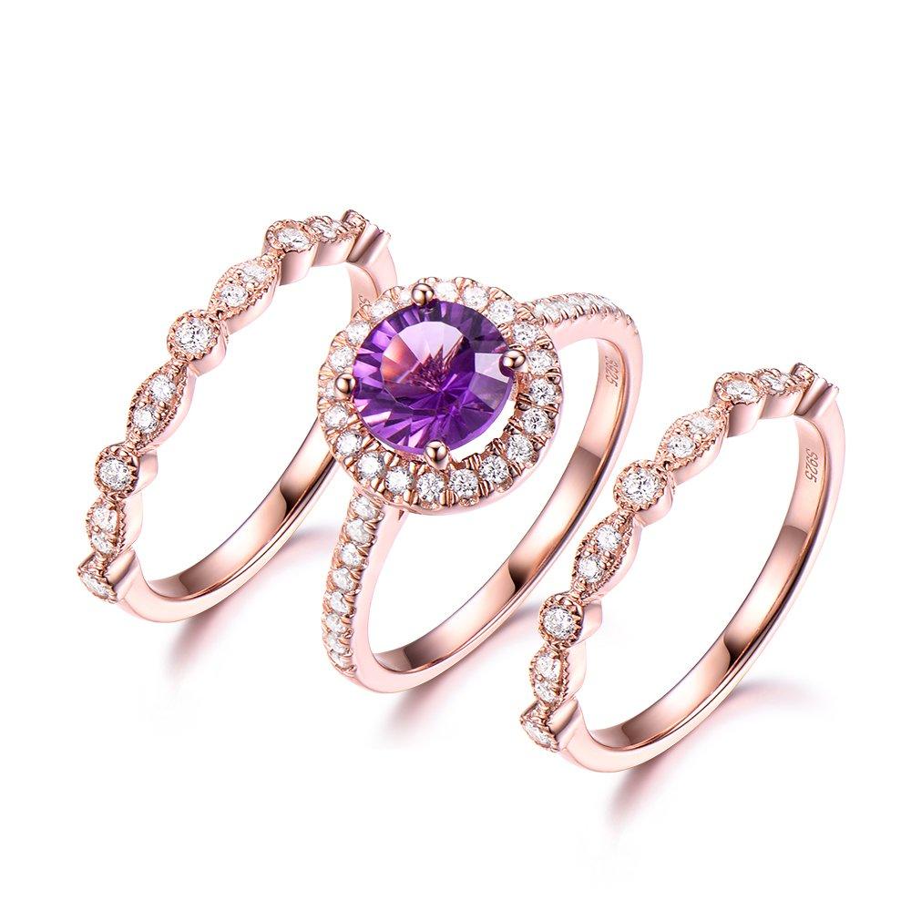 7mm Round Cut Purple Amethyst Rose Gold Engagement Ring Set 925 Sterling Silver CZ Diamond Wedding Band