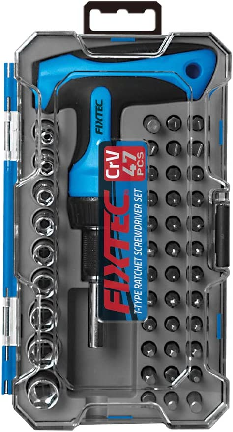 FIXTEC 47-Piece Screwdriver Bit Set Ratchet Wrench Magnetic T-Handle Home Repair Kit with Plastic Toolbox Storage Case