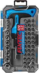 FIXTEC 47-Piece Screwdriver Bit Set Ratchet Wrench Magnetic T-Handle Home Repair Kit with Plastic Toolbox Storage Case