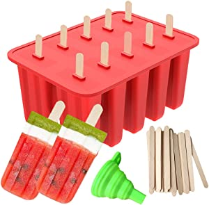 Popsicle Molds, Ouddy 10-Cavity Silicone Homemade Ice Pop Molds & A Silicone Funnel with 50 Pcs Wooden Sticks