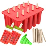 Popsicle Molds, Ouddy Ice Pop Molds Popsicle Maker Silicone 10-Cavity Homemade & A Silicone Funnel with 50 Pcs Wooden Sticks