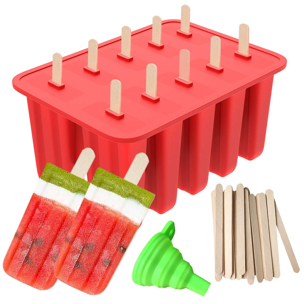 Red Ouddy 10-Cavity Silicone Homemade Ice Pop Molds /& A Silicone Funnel with 50 Pcs Wooden Sticks Popsicle Molds