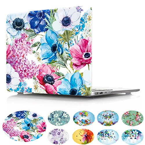 2016 Release Macbook Pro 15 Case, PapyHall Romantic Flower Pattern Slim Design Protective Plastic Hard Case Colorful Art Printing Macbook Shell for Macbook Pro 15