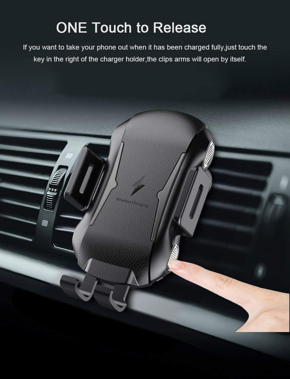 AKXOMY Automatic Clamping 10W//7.5W Qi Enabled Car Charger Holder on Air Vent Compatible with Samsung Galaxy S9 S9 Plus S8 S7//S7 Edge Note 8 5 /& Standard Charge for iPhone X Wireless Car Charger
