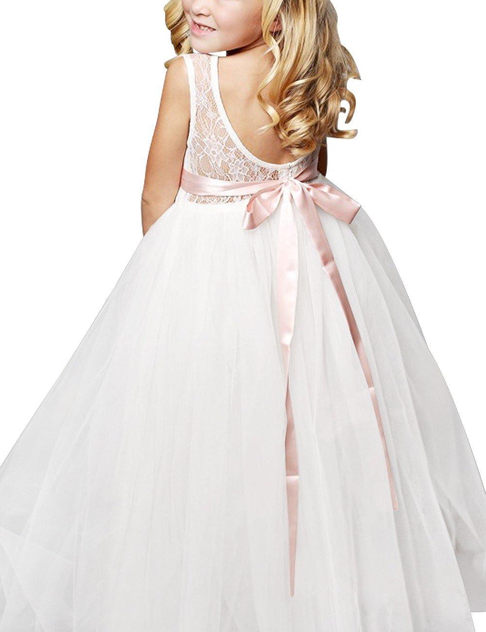 cd883f20d4f76 FEESHOW Robe de Mariage Fille Demoiselle dHonneur Robe soirée Bustier  Dentelle Floral Enfant Robe de Cérémonie Tulle Jupe Longue ...