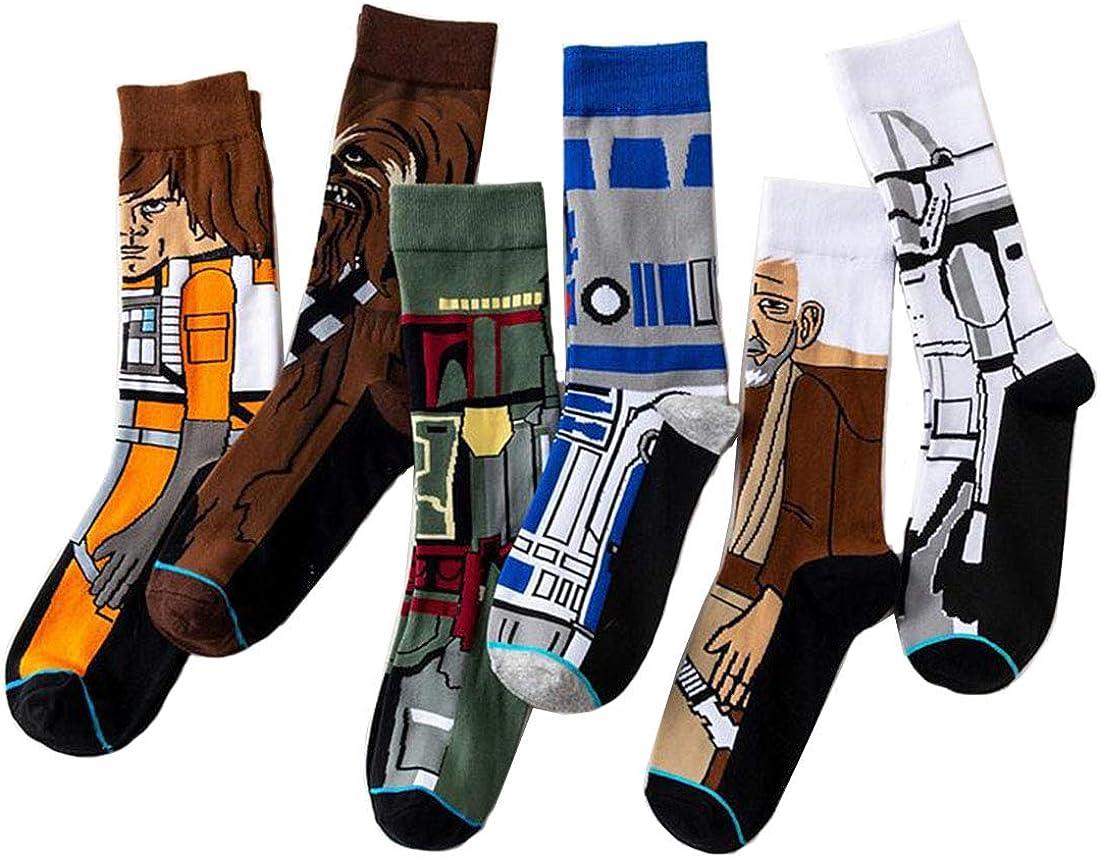 Jintong - Calcetines divertidos para mujer, 5 pares de novedad para hombres, bajo de película Star Wars, calcetines de Yoda Cosplay, calcetines Wookiee Jedi Knight Hip Hop